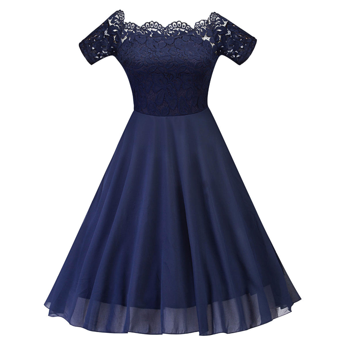 High Quality Short   Cocktail     Dresses   Navy Blue Chiffon Lace Short Sleeves Party Gowns Girls Elegant New Mini Vestido Coctel