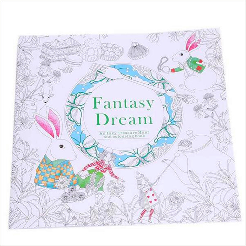 24 Pages Fantasy Dream English Edition Coloring Book For Children Adult Relieve Stress Kill Time Painting