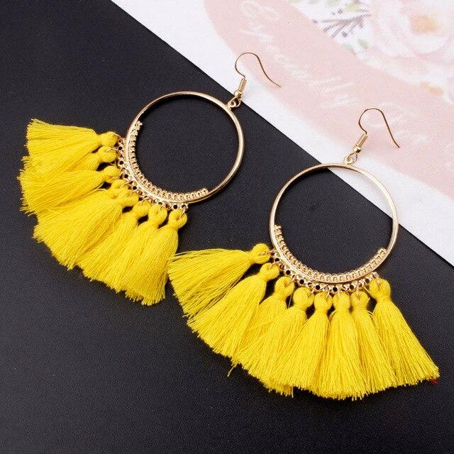 Big Circle Tassel Earrings for Women Bohemian Fan Shaped Drop Dangle Earrings 2018 New Design Party Jewelry Long Fringe Earring in Drop Earrings from Jewelry Accessories