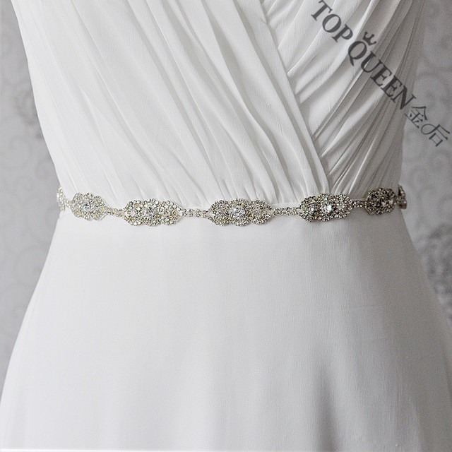 TOPQUEEN S215 Free shipping Stock Cheap designer Bridal belts rhinestone Wedding sashs White and Ivory