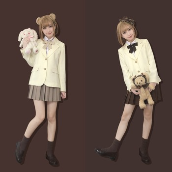 2018 autumn new female students campus high quality school uniform Japanese long sleeve sweet style JK uniform cream suit