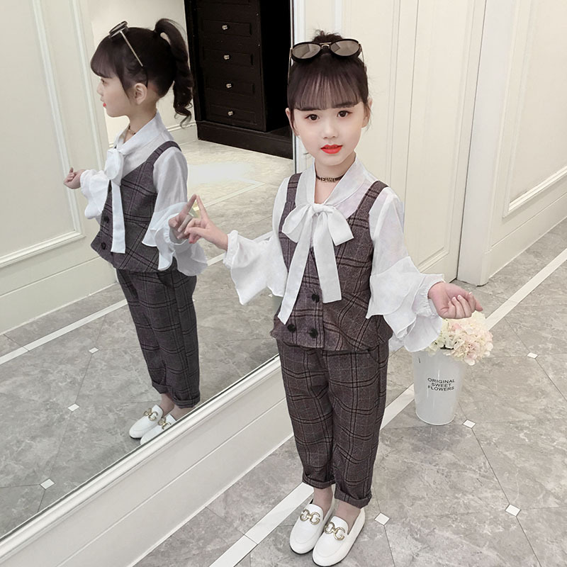 2019 autumn and winter girls clothing suit children formal occasion clothing fashion lattice lapel trumpet sleeve three piece