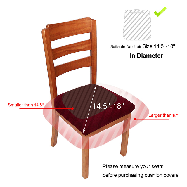 2018 Premium Jacquard Dinning Chair Seat Cushion Protectors Spandex Stretch Solid Color Dining Room Cover