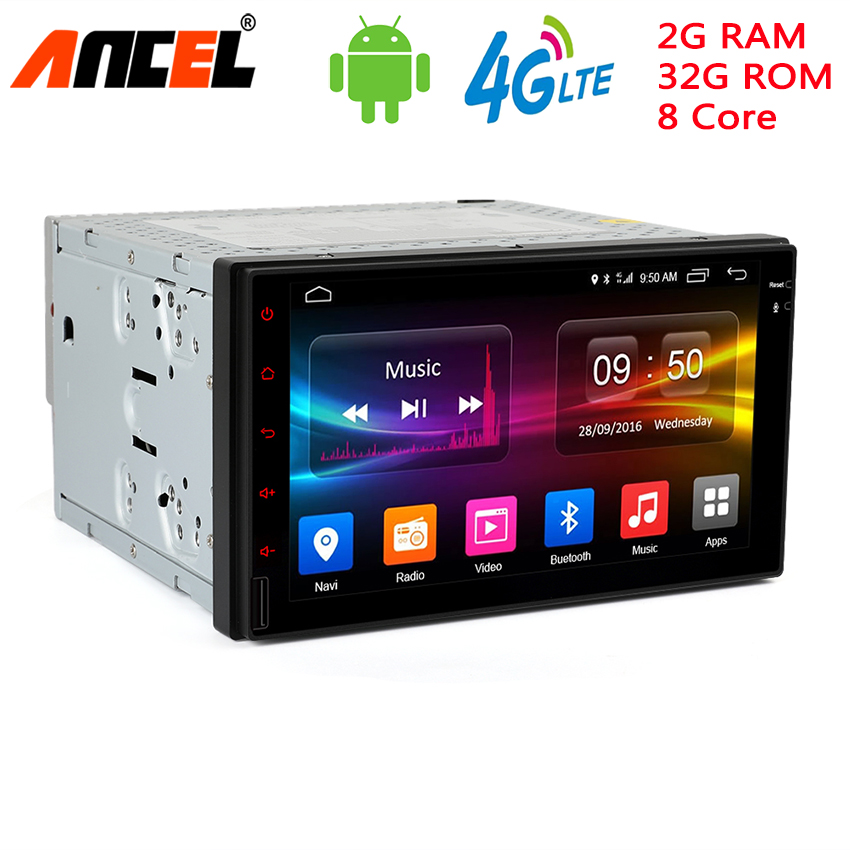 Ancel 8 Core DVD Android 6.0 2G RAM 32GB ROM Support 4G LTE SIM Network Car GPS 2 din Car Radio player no dvd multimedia Player