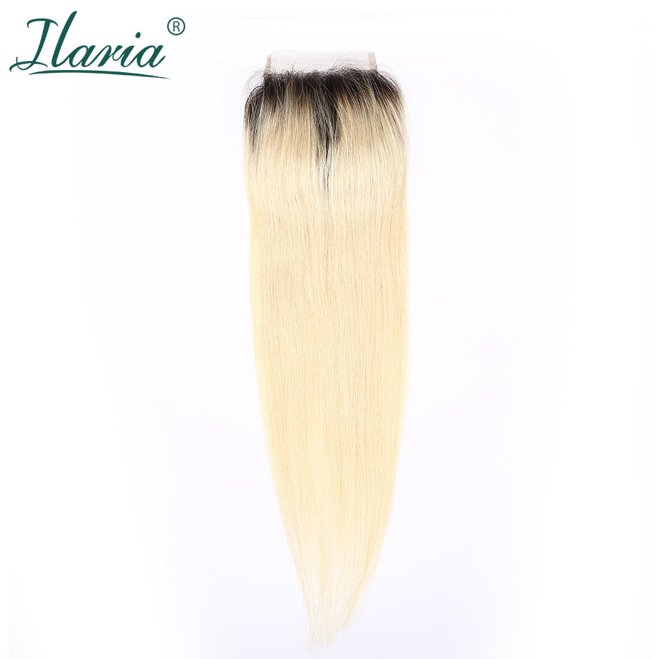 ILARIA HAIR 1B 613 Blonde Straight Human Hair Lace Closure 4x4 With Baby Hair 2 Tone Dark Root Ombre Closure Bleached Knots