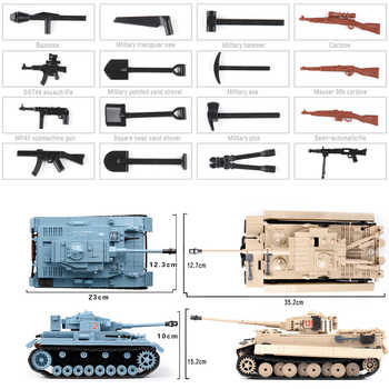 3 Models Construction Tank Building Blocks City Military Weapons Bricks Action Soldier Fighter Educational Toys For Children
