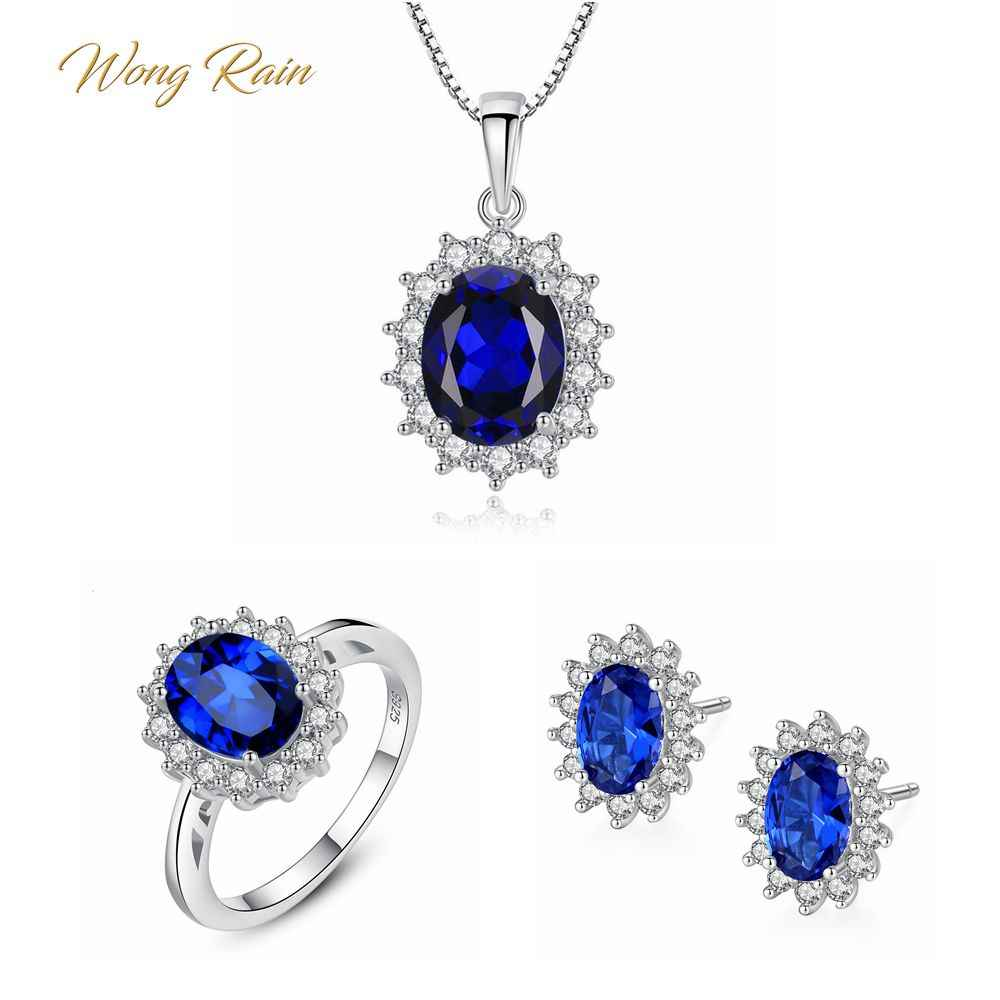 Wong Rain 100% 925 Sterling Silver Oval Sapphire Gemstone White Gold Earrings Ear Studs Ring Necklace Fine Jewelry Set Wholesale
