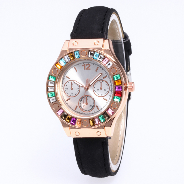 Brand Luxury Watches Women Colored diamond watch Popular Quartz Leather Bracelet
