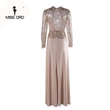 Missord Fashion 2018 Flash sexy high-necked long-sleeved sequin split dress