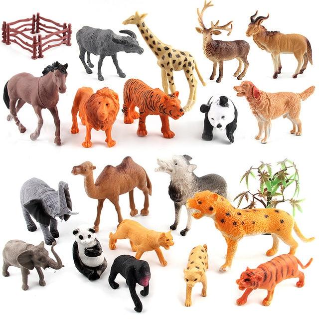 Hot 12pcs Set Animal Kingdom Plastic Zoo Animal Figure Tiger Leopard