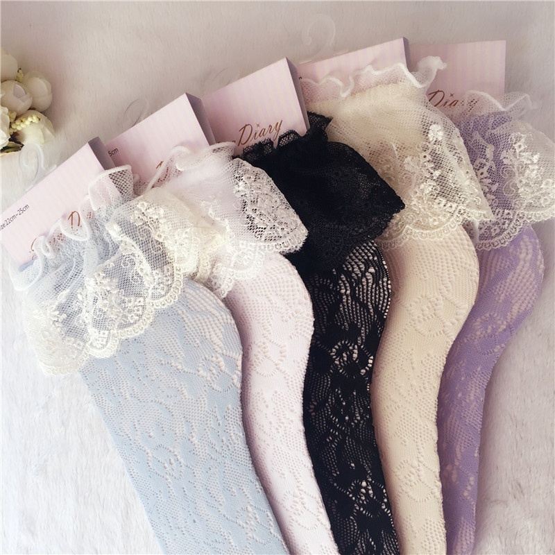 Fashion Women Girls Lace Ruffle Frilly Ankle Socks Hollow Harajuku Lovely Cute Vintage Retro Froral Lady White Princess Wedding