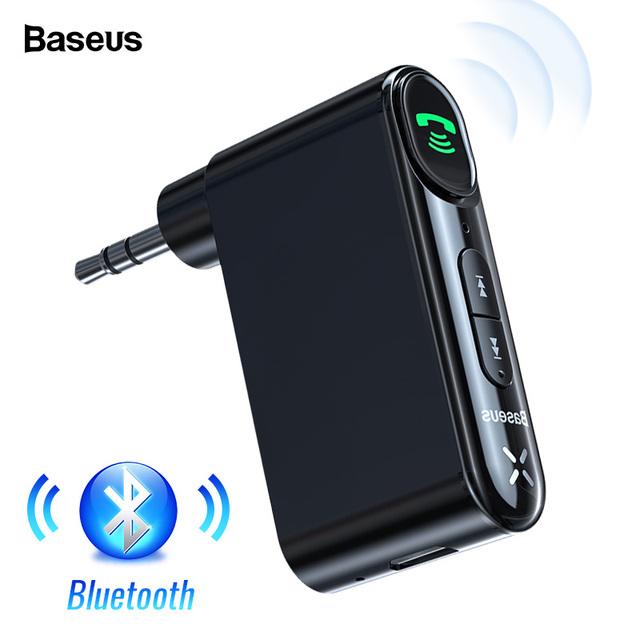 Baseus Car AUX Bluetooth 5.0 Adapter 3.5mm Jack Wireless Audio Receiver Handsfree Bluetooth Car Kit For Phone Speaker Headphone