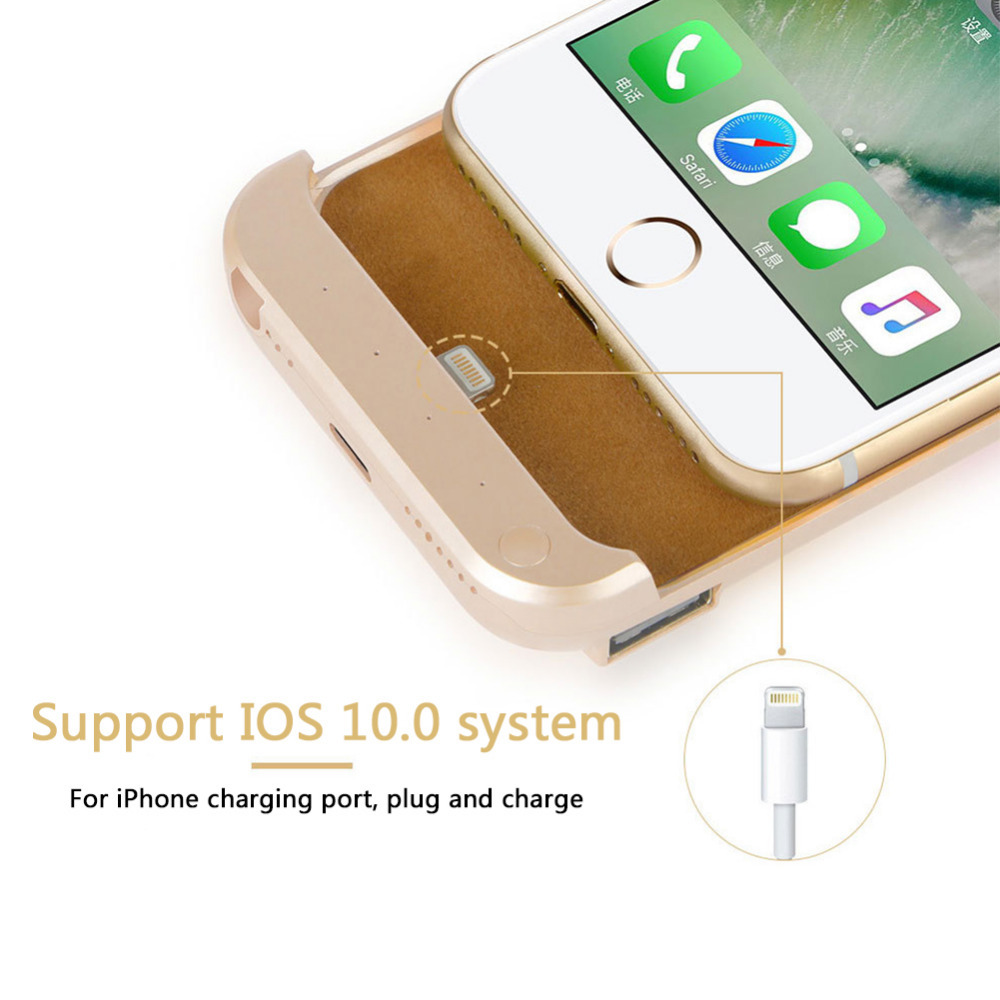 8000 Mah For iPhone7plus iPhone6plus 6s plus Battery Case 3color Ultra-thin Power bank Back Clip Battery Charger Case For iphone