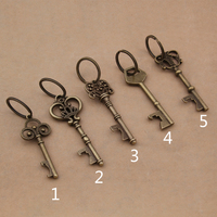 Yage 50Pcs 6 Kinds Beer Bottle Opener Zinc Alloy Bronze Plated Key Opener For Keychain