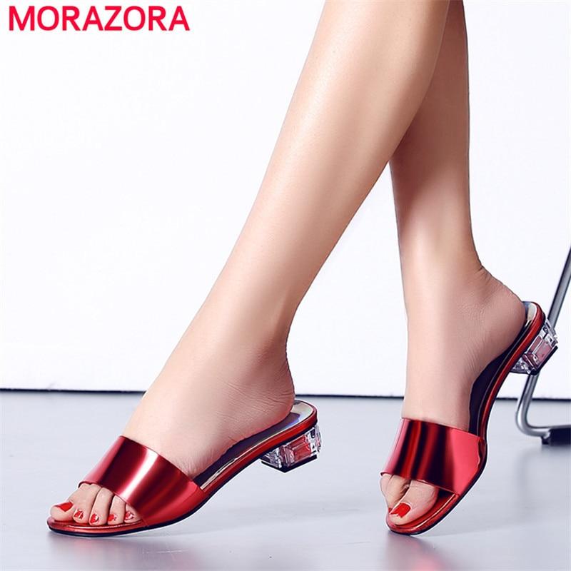 51c8c57daa2 De 2019 Zapatos Venta Sandalias plata Mujer rojo Caliente Tacones Azul  Elegante Verano Cuero Cuadrado Las ...