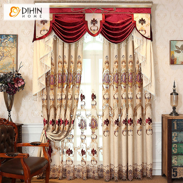 Dihin home luxury european curtain blackout curtains for bedroom window valance curtains drapes