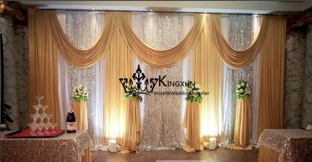 white and gold wedding backdrop curtain drape with sequin fabric