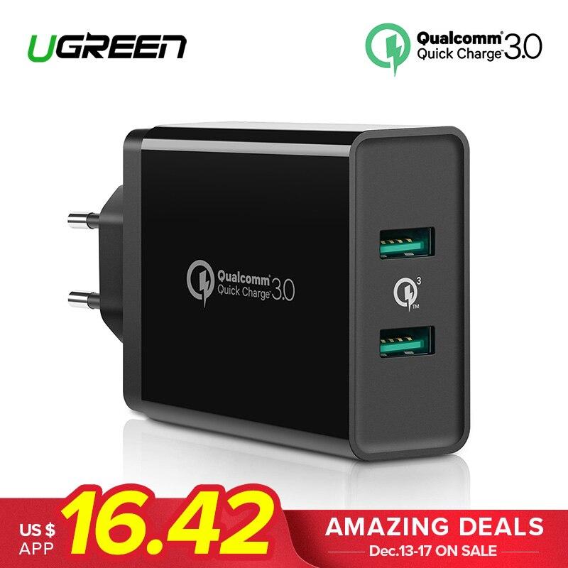 Ugreen Quick Charge 3,0 36 watt USB Ladegerät für iPhone X 8 Plus Schnell QC 3,0 Ladegerät für Samsung Galaxy s9 Xiao mi mi 8 USB Ladegerät