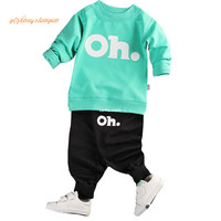 2017 Kids Clothes Set Baby Boys Girls Clothes Suit Toddler Boys Clothing Long Sleeve Tshirt