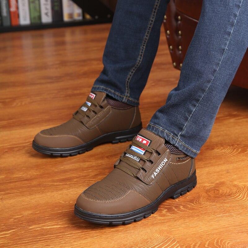 De Martin Pai Dos Homens Quente Neve Khaki Idosos Inverno marrom Sapatos Lazer Botas Aww1aqO