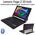 Para lenovo yoga tablet 2 10 1050 1050f/l 1051 1051f/l desmontable Teclado Inalámbrico Bluetooth + Caso de Cuero de LA PU Elegante Del Soporte cubierta