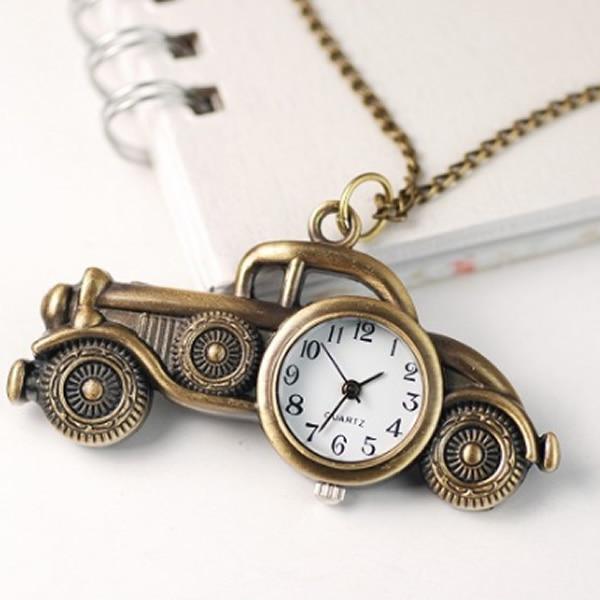 2017 New Antique Mini Bronze Car Design Quartz Pocket Watches Necklace Chain Pendant Womens Men Watch