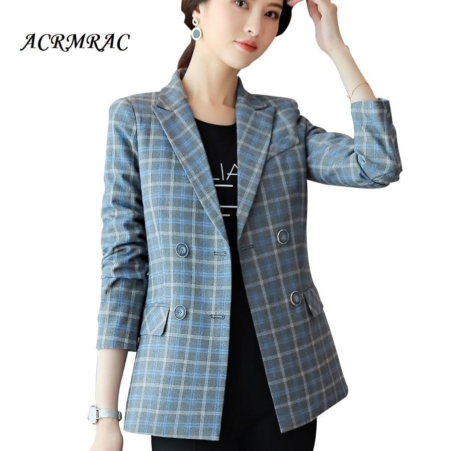 ACRMRAC Women jacket Slim Plaid OL Business Long sleeve Blazers Women