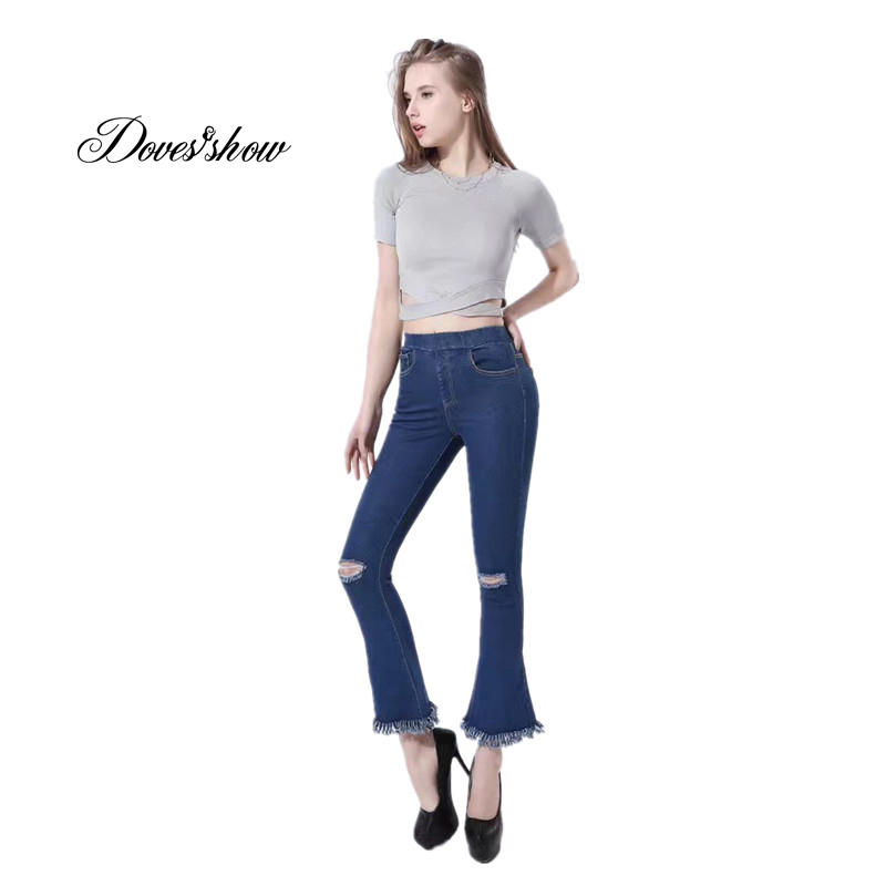 Women High Waist Ripped Stretch Flare Pants Plus Size Jeans Casual Ankle Length Pants Women's Clothing Denim Trousers Pocket high waist jeans women plus size femme stretch slim loose large size jeans pants 2017 casual ankle length haren pants trousers