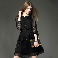 The Latest High Quality Fashion 100 Real Silk Dress Women Vintage A Line Printing Loose Plus