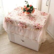 Tablecloth Flower-Decoration Dust-Cover Bedside Pink Rectangular Pastoral Cabinet-Sets