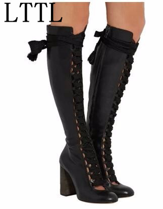 LTTL Fashion Sexy Cut Outs Lace Up Round Toe Women Knee High Boots Chunky High Heels Side Zip Winter Party Dress Boots Woman 2015 hottest drop shipping vintage round toe strappy zip knee high boots studs chunky heel leather boots women high heels j459