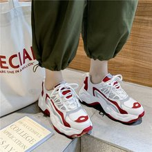 Women Chunky Sneakers 2019 Women Hip Hop  Casual Shoes Fashion White Sneakers  Lace-Up Platform Shoes Tenis Zapatillas Mujer