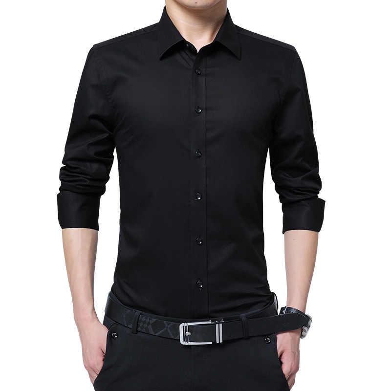 Erkek Gömlek Iş Uzun Kollu turn-aşağı Yaka Erkek Gömlek Slim Fit Elbise Gömlek Asya Boyutu 6XL 7XL 8XL dropshipping 2019
