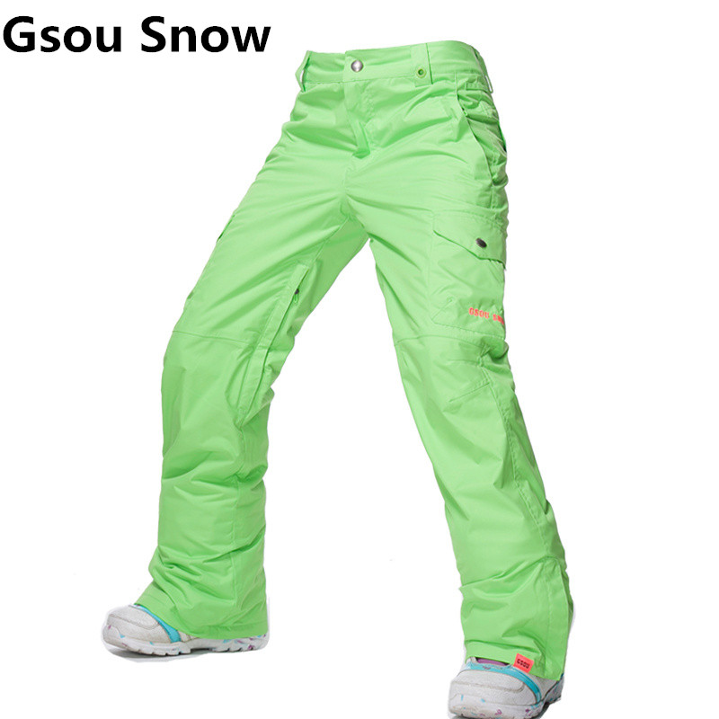 GSOU SNOW Brand Ski Pants Women Waterproof High Quality Multi Colors Snowboard Pants Outdoor Skiing and Snowboarding Trousers 2017 hot sale gsou snow high quality womens skiing coats 10k waterproof snowboard clothes winter snow jackets outdoor costume