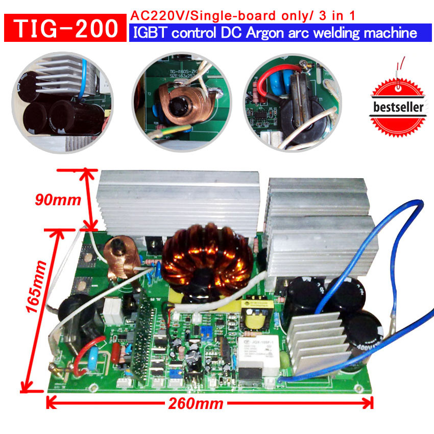 TIG 250 IGBT PCB TIG/MMA multi-function welding IGBT inverter welding machine AC220V inverter pcb inverter card 3 in 1 ws 200 250 top board control card for mosfet cotrollled mma tig welding machine