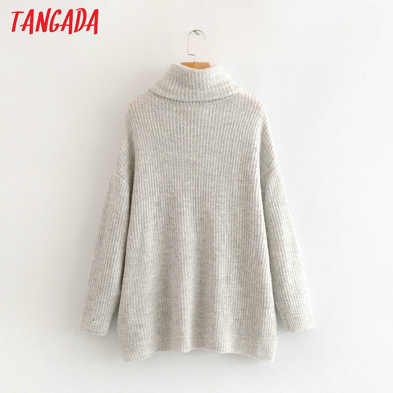 Tangada women jumpers turtleneck sweaters oversize winter fashion 19 long sweater coat batwing sleeve christmas sweate HY135 26