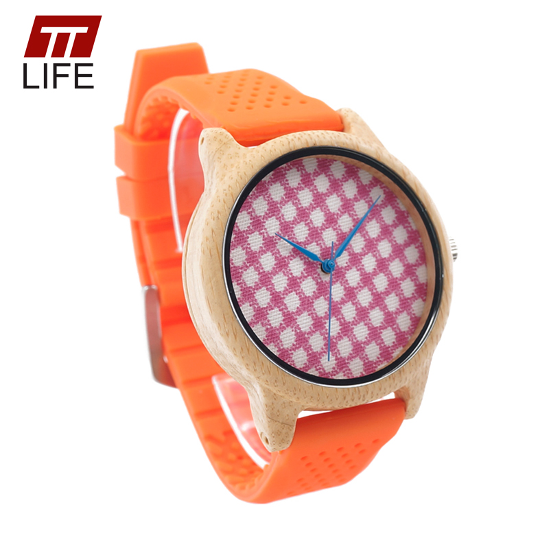 ФОТО TTLIFE Womens Simple Plaid Fabric Dial Wooden Orange Silicone Straps Quartz Bamboo Case Watches With Blue  Yellow Watch Hand