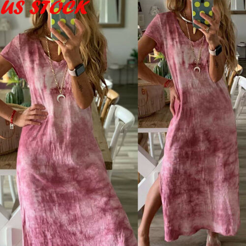 Plus Size Womens Cotton Summer Short Sleeve Long T-Shirt Ladies Casual Dress Boho Kaftan Tunic Gypsy Ethnic Beach Party Sundress