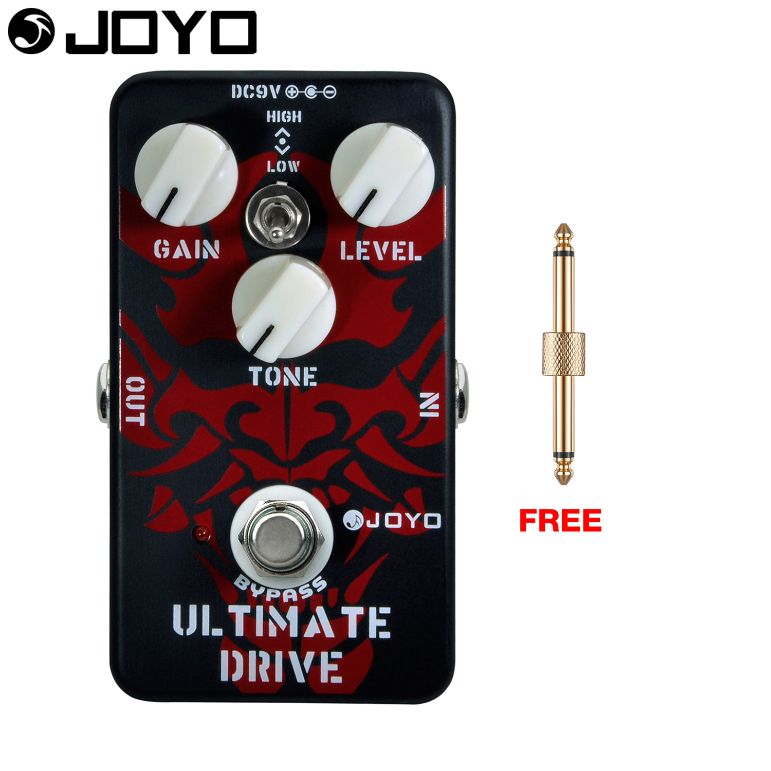 Joyo Ultimate Drive Electric Guitar Effect Pedal True Bypass High and Low Tone Switch JF-02 with Free Connector aroma adr 3 dumbler amp simulator guitar effect pedal mini single pedals with true bypass aluminium alloy guitar accessories