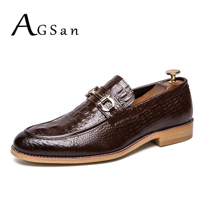 AGSan hombre holgazanes del vestido tamaño grande 38-47 Oxfords punta Toe cuero mocasines casuales Inglaterra estilo zapatos de boda slipon