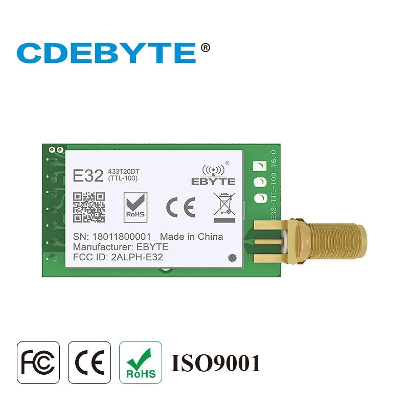 10 pc/lote módulo lora sx1278 433 mhz iot transceptor de dados sem fio E32-433T20DT uart 20dbm 100 mw dip transmissor e receptor