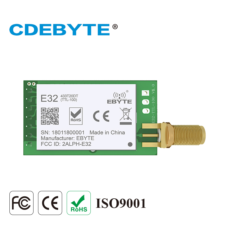 E32-433T20DT LoRa Longe rango UART SX1278 433 mhz 100 mW SMA antena IoT uhf inalámbrico transmisor receptor módulo