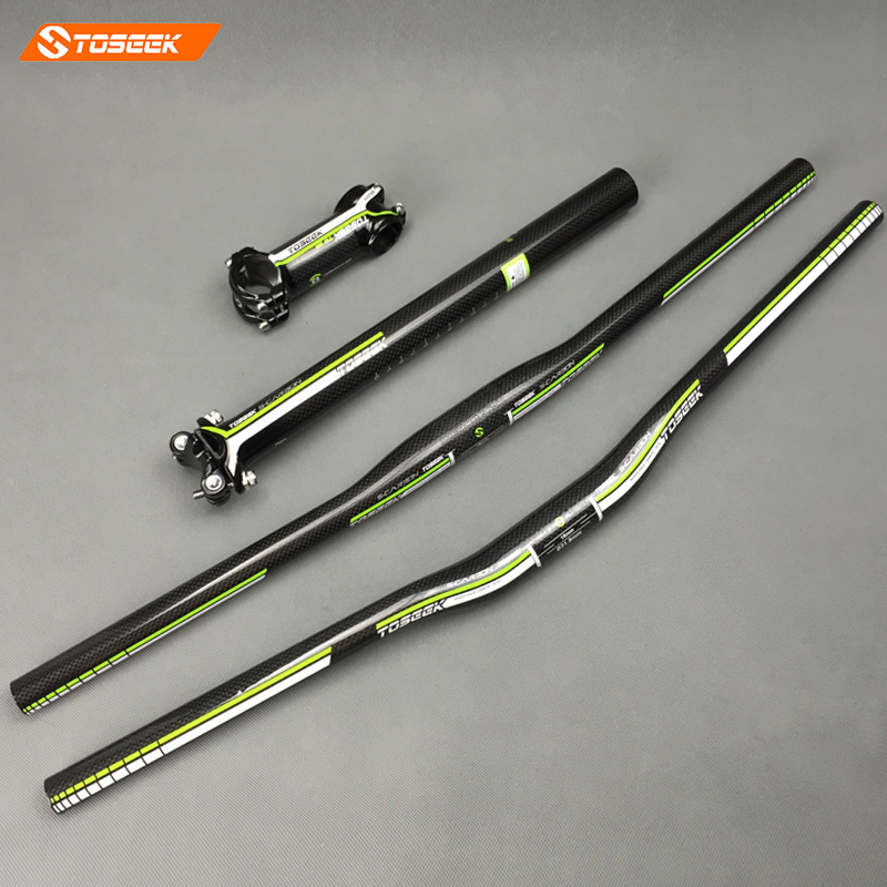 Toseek Carbon Fiber MTB Bicycle Parts Set Carbon Flat or Riser Handlebar Stem seatpost 3k glossy green MTB handlebar set cycling king c k 2015 mtb handlebar bicycle stem carbon seatpost tube flat or riser mountain bike bar top carbon super set