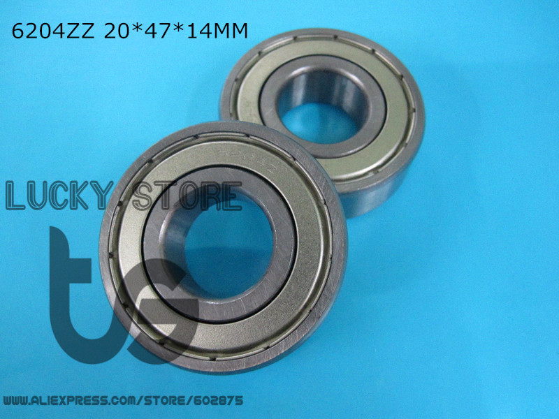 6204ZZ 10 Piece bearing metal sealing bearings Free shipping 6204 6204Z 6204ZZ 20*47*14mm CHROME STEEL DEEP GROOVE BEARING