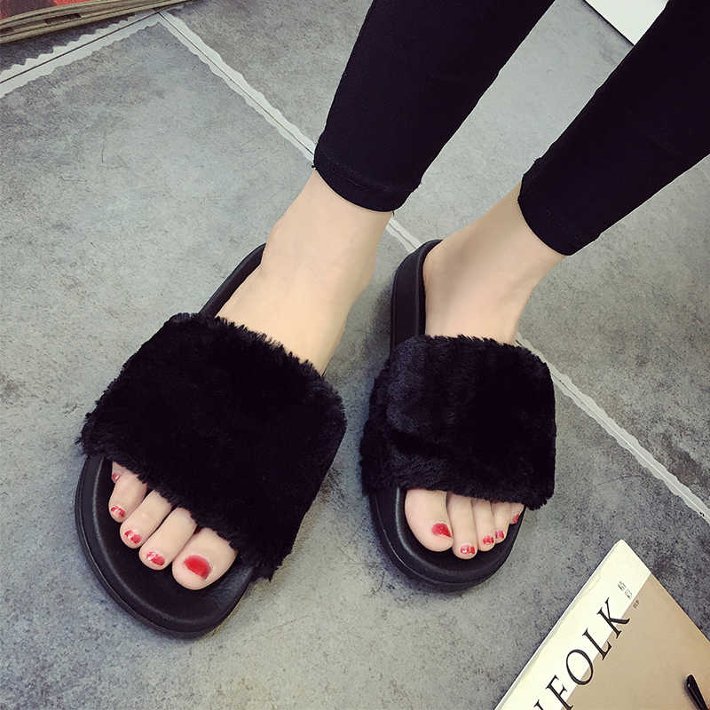 2d1ad78d309e Plus size 36-45 fur sandals Unisex fur flipflops girls pink white slippers  men black