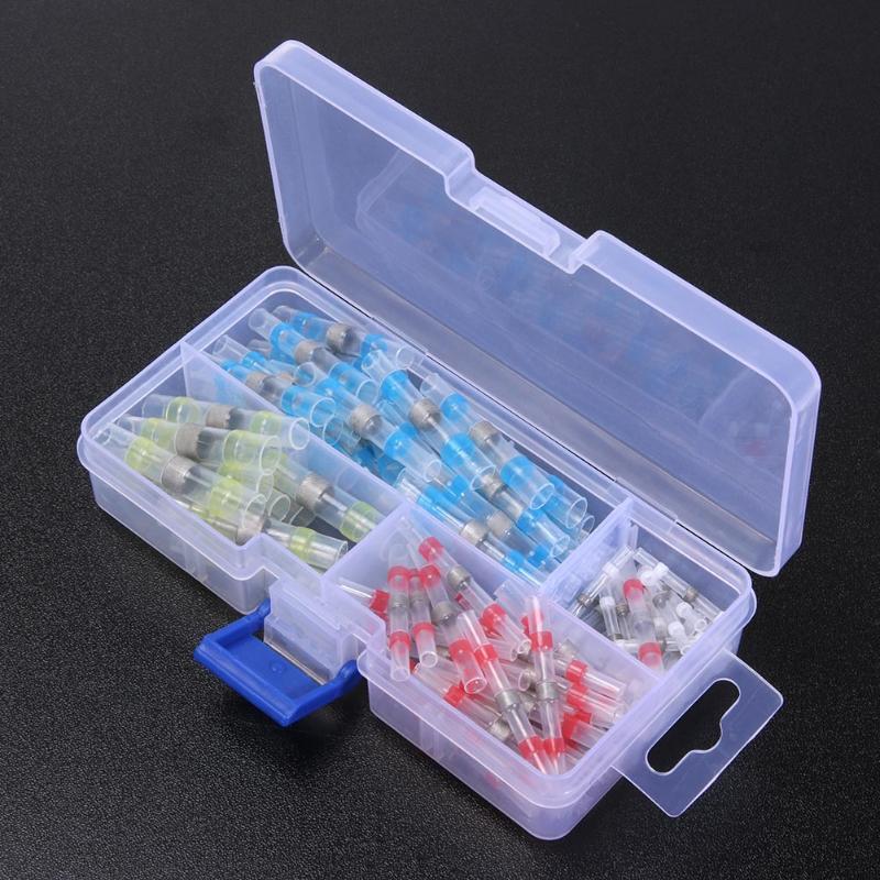 50/100 piezas 120 piezas de sellado de soldadura resistente al agua termorretráctil conectores de tope conector de Tubo termorretráctil con caja en stock envío en 1 día