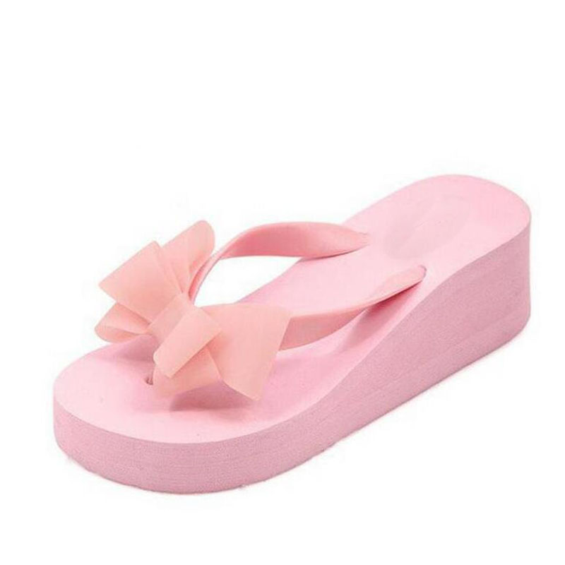 hot sale soild wedge platform flip flops woman shoes 2016 women summer shoes high heels beach sandals ladies thick high pantufas Hot! New Fashion Summer Women Platform High Heel Flip Flops Beach Sandals Bowknot Slippers Women Shoes Size36-40 For Choice