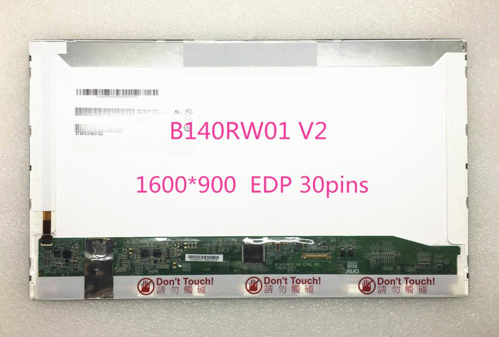 Free shipping! 14.0''inch B140RW01 V2 LP140WD2-TPB1 LP140WD1-TPD1 Laptop Lcd Screen 1600*900 EDP 30pins free shipping original 9 inch lcd screen cable numbers kr090lb3s 1030300647 40pin