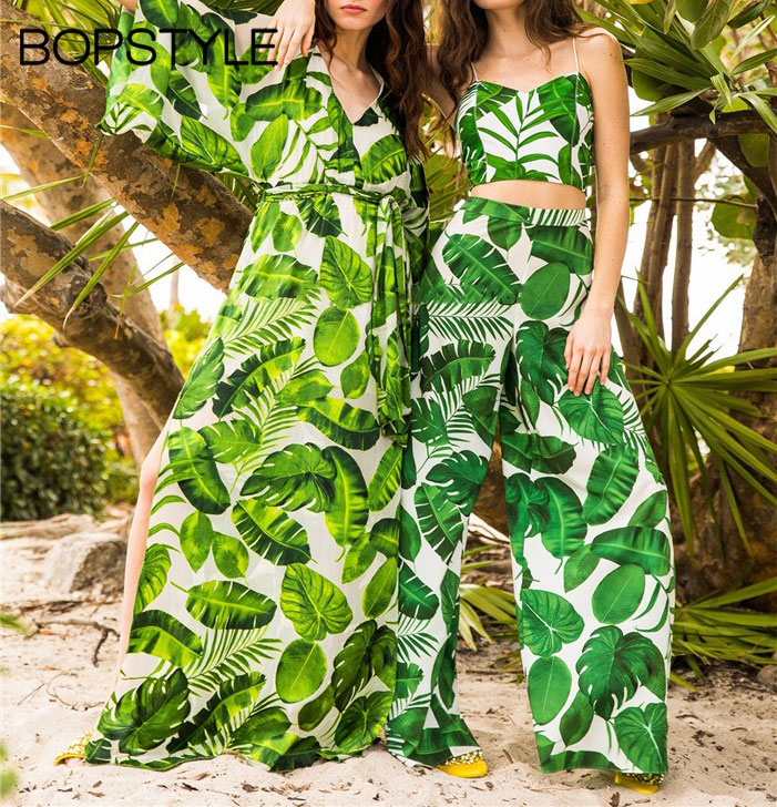0c32e3075ddd Fashion 2018 Hot Sale Ladies Tropical Palm Leaf Print Loose Fit Wide Leg  Pants - Women Stylish Beach Resort Wear Trousers