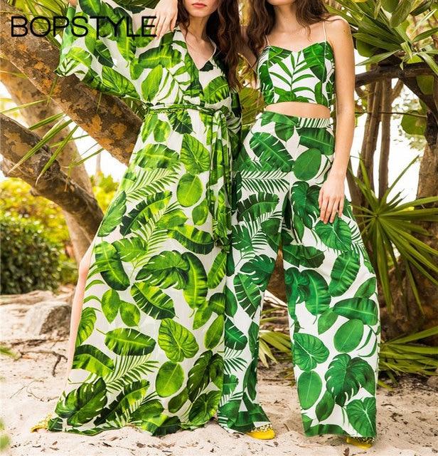 e0a6cf04ca Fashion 2018 Hot Sale Ladies Tropical Palm Leaf Print Loose Fit Wide Leg  Pants - Women Stylish Beach Resort Wear Trousers